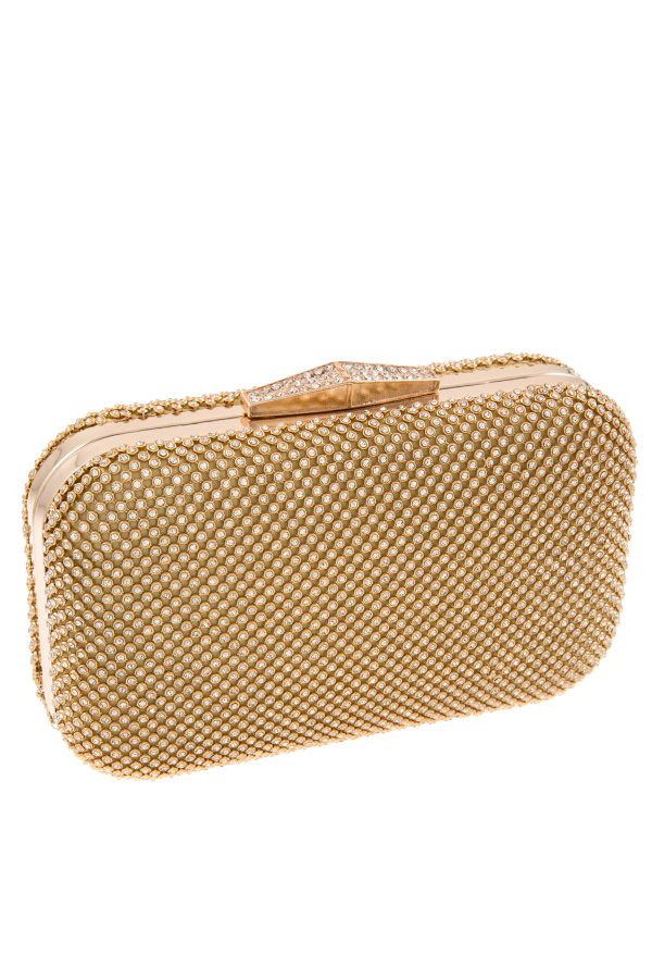 CRYSTAL MESH ACCENT EVENING CLUTCH BAG