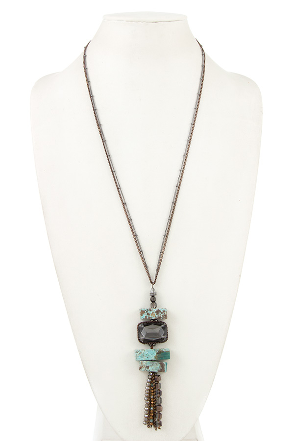 STACKED GEM PENDANT CHAIN TASSEL NECKLACE