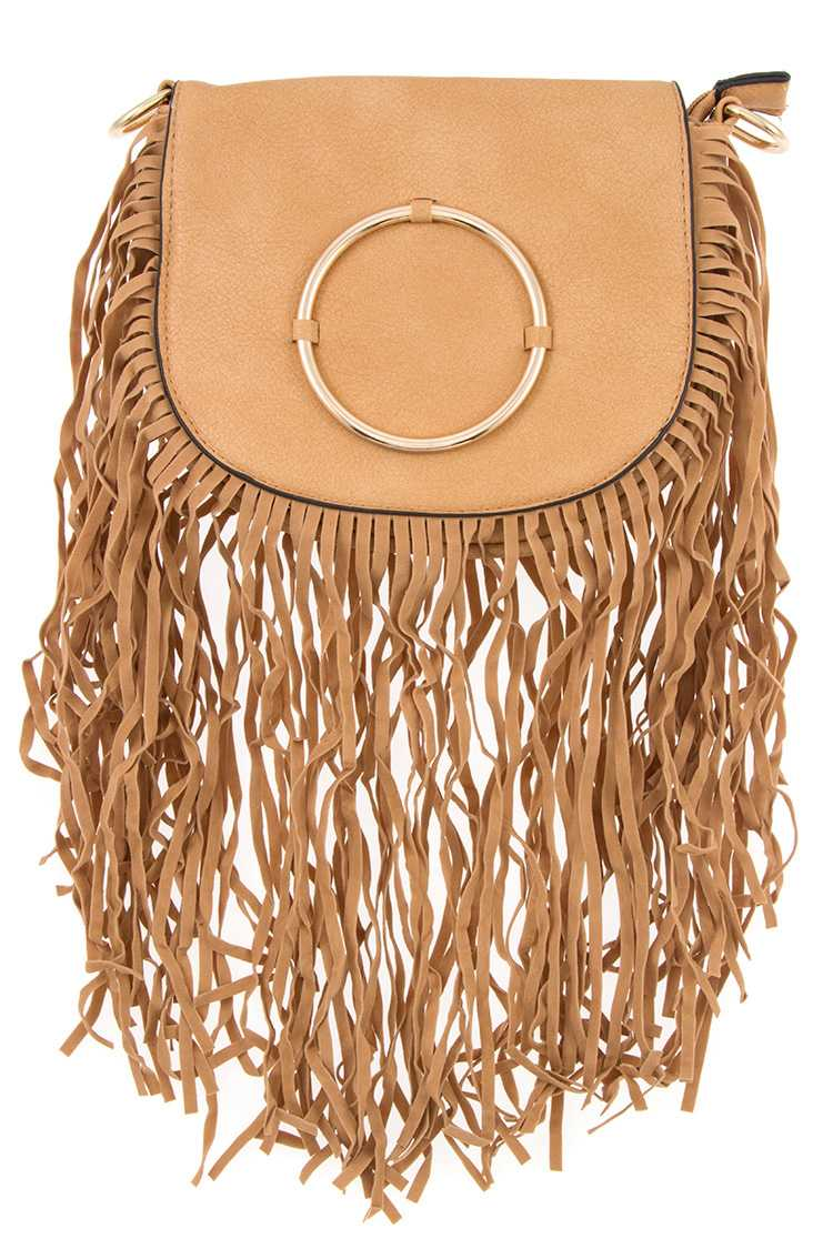 Faux Leather Faux Suede Fringe Mini Shoulder Bag