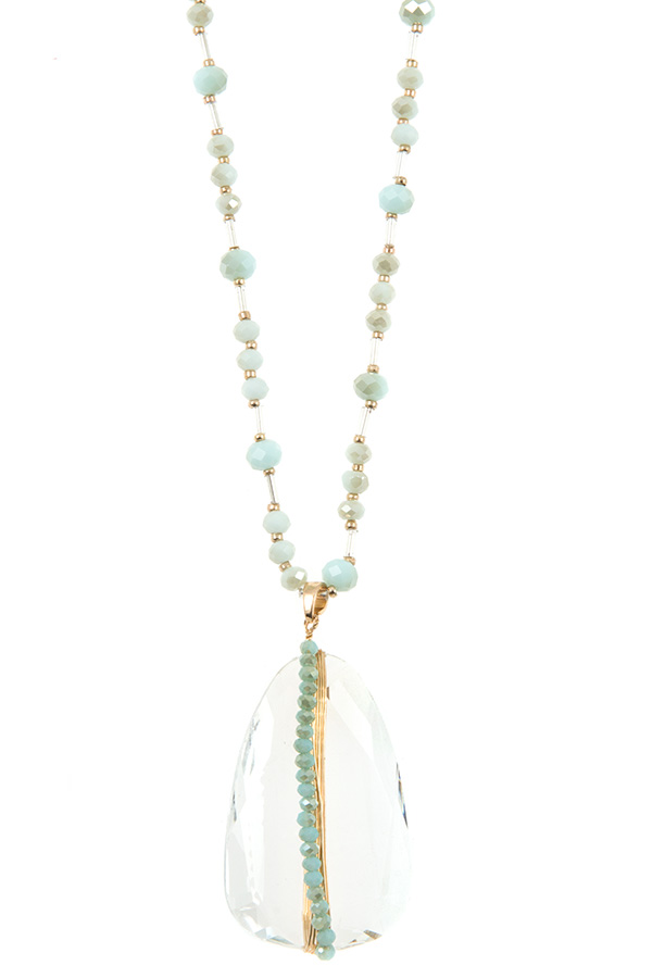 CLEAR PENDANT GLASS BEAD NECKLACE SET