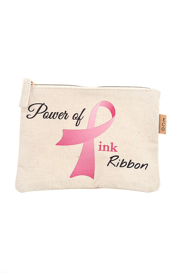 POWER OF PINK RIBBON MINI POUCH BAG