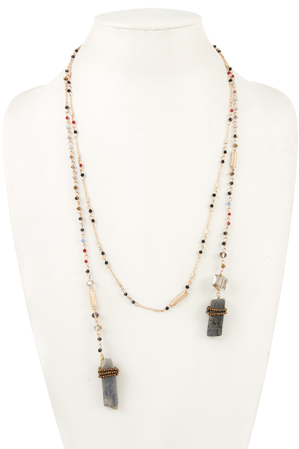 ELONGATED BEADED STONE END WRAP NECKLACE