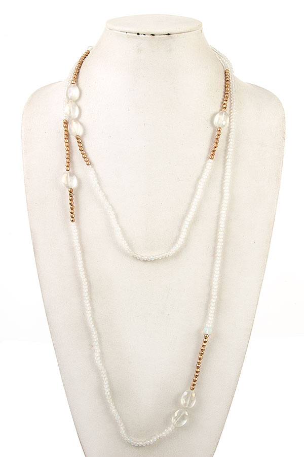 Elongated Multi Glass Bead Necklace Strand