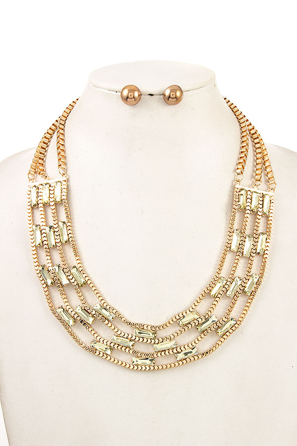 MULTI BOX CHAIN BIB NECKLACE SET