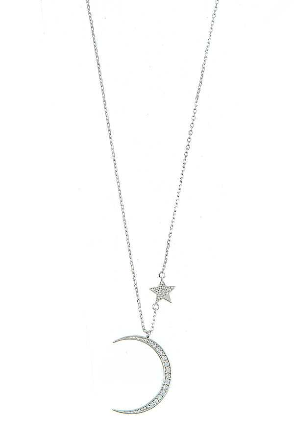 CZ STONE MOON AND STAR PENDANT NECKLACE
