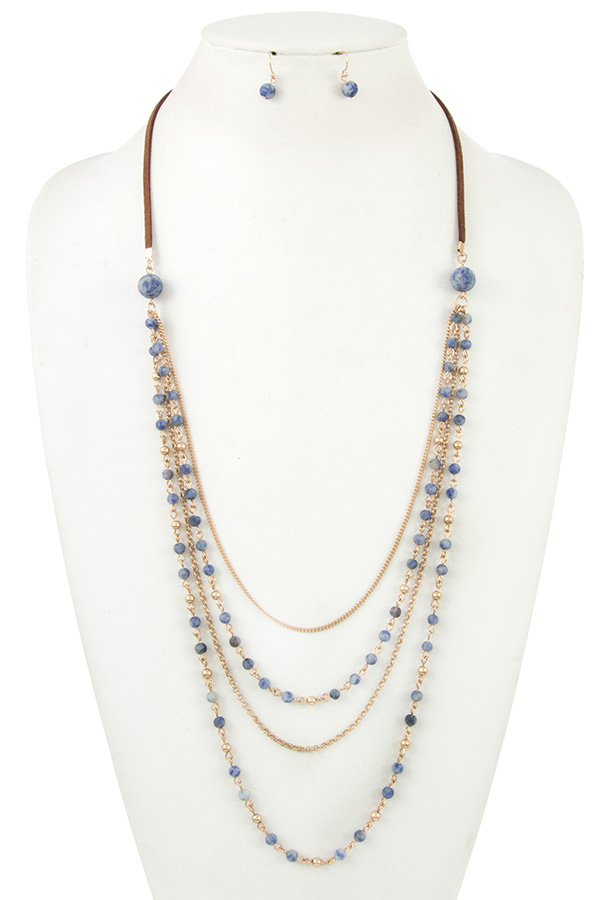 MIX BEAD DROP LOW LAYERED NECKLACE SET
