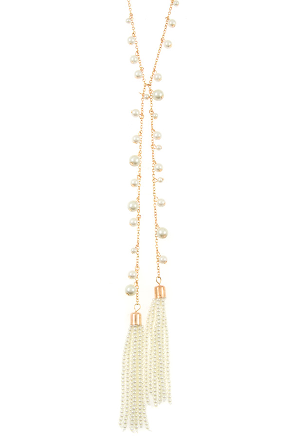 ELONGATED PEARL BEAD AND TASSEL NECKLACE SET
