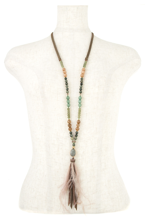 MIX BEAD FAUX FEATHER LONG NECKLACE