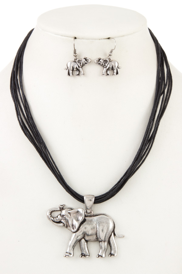MULTI CORD ELEPHANT PENDANT NECKLACE SET