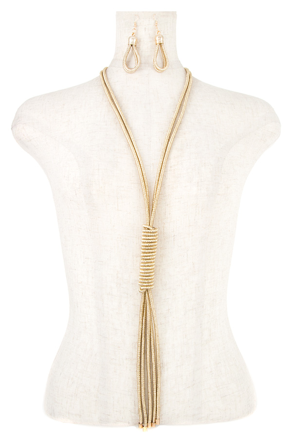 CORD CHAIN LINE LONG WRAP NECKLACE SET