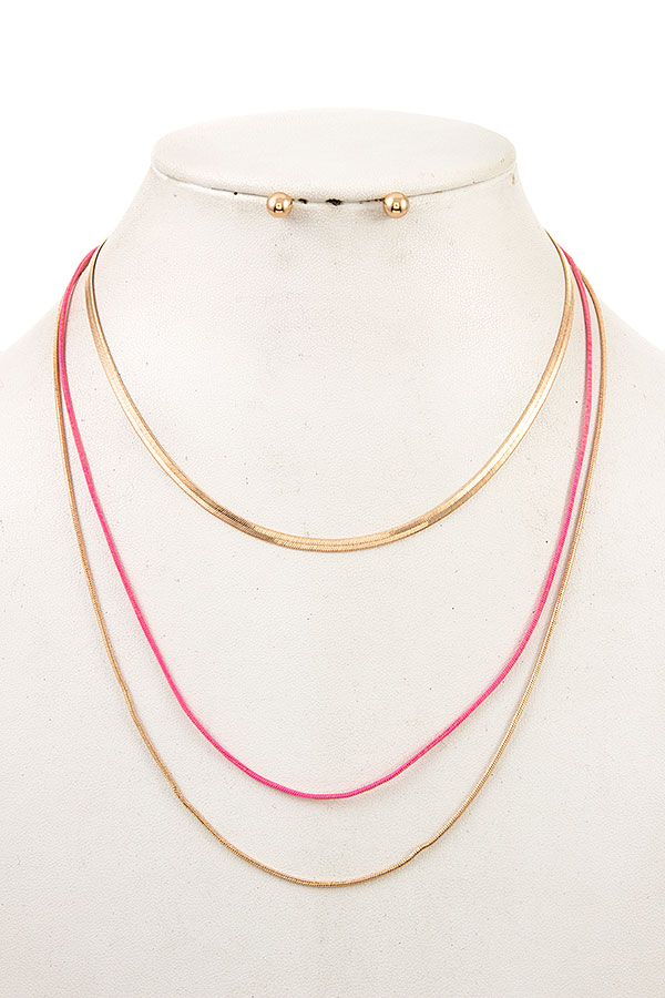 MULTI LAYERED FLAT CHAIN NECKLACE SET
