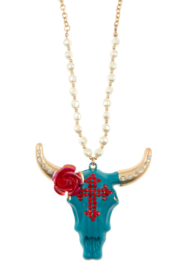 FLORAL AND STUD PAVE BULL PENDANT NECKLACE SET