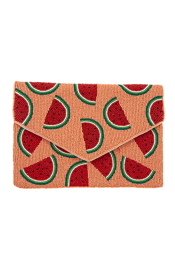 WATERMELON BEADED CLUTCH BAG