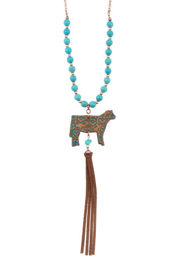 GENUINE LEATHER FLORAL COW PENDANT BEADED NECKLACE SET