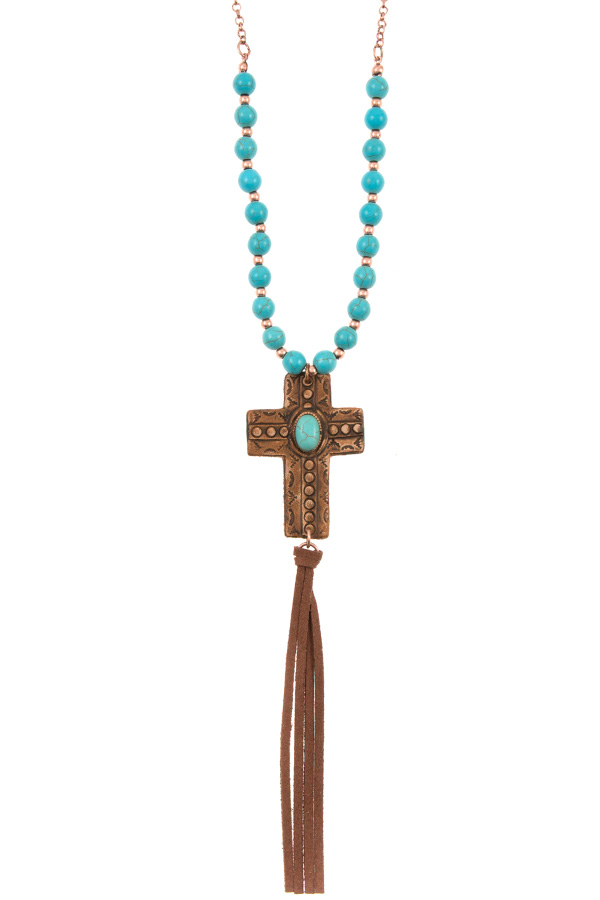 GENUINE LEATHER CROSS PENDANT BEADED NECKLACE SET