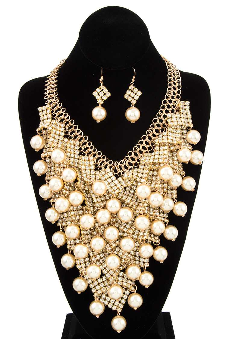 Cluster Faux Pearl and Rhinestone Bib Statement Necklace Set