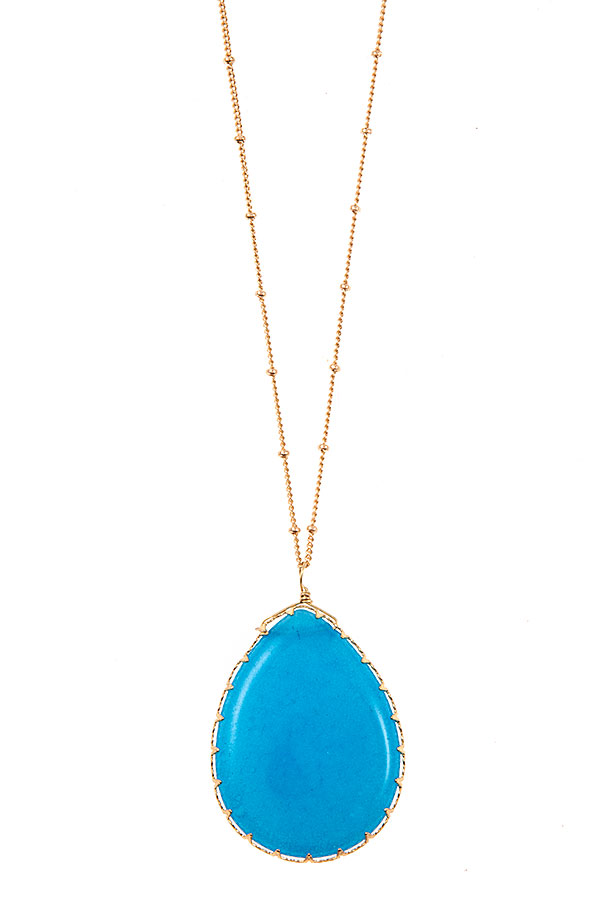 FRAMED TEARDROP GEMSTONE PENDANT LONG NECKLACE