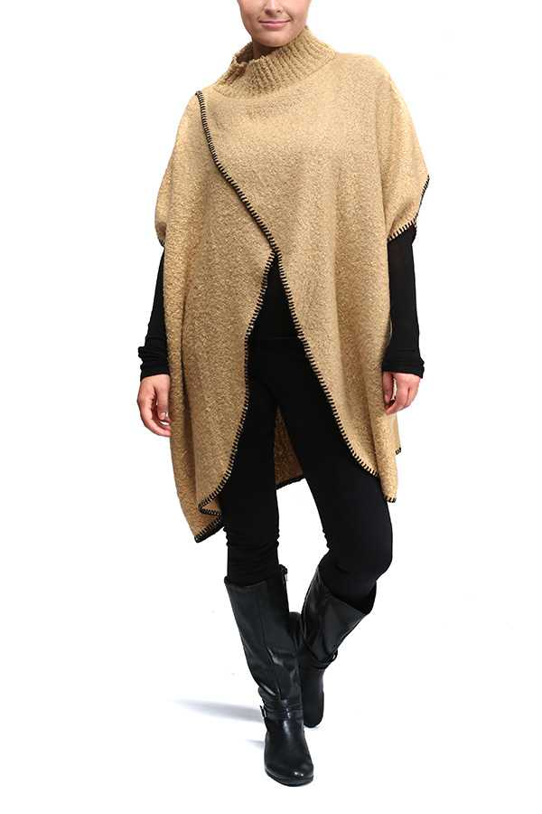 High Neck Diagonal Detailed Poncho