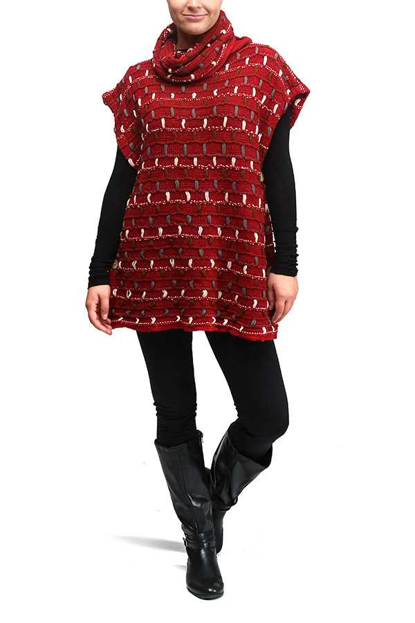 Woven Thread Pattern Turtle Neck Poncho