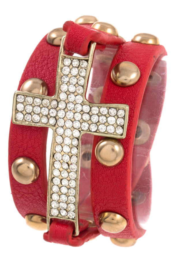 RHINESTONE CROSS STUDDED ACCENT WRAP BRACELET