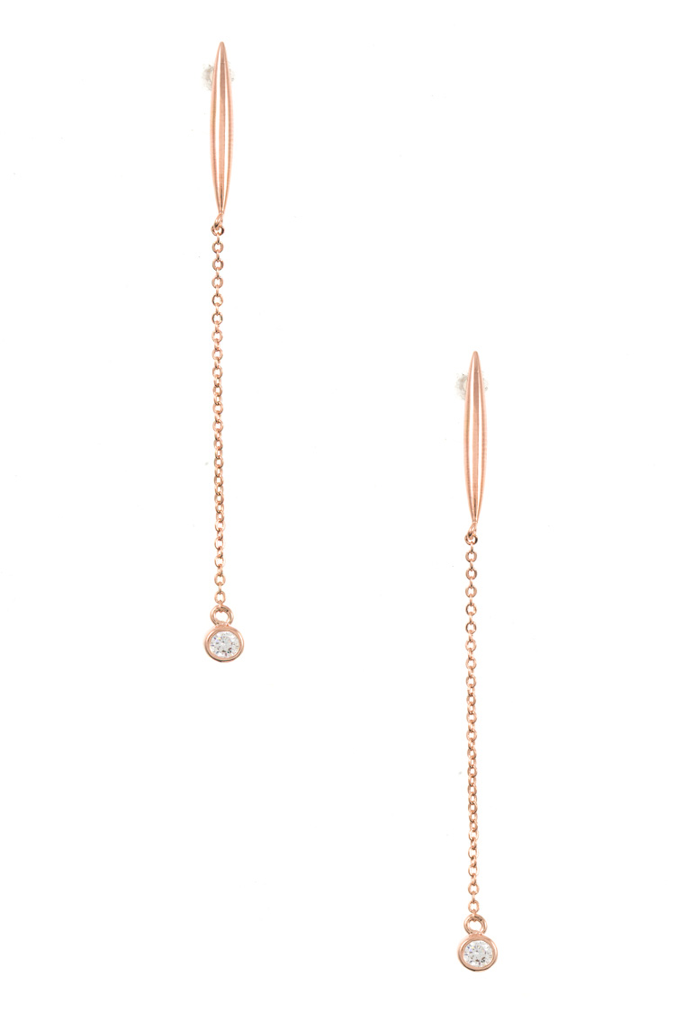 Drop Chain CZ Stone Dangle Earring