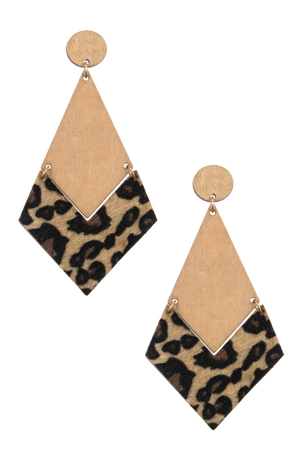ANIMAL PRINT WOODED SHAPE EARRING