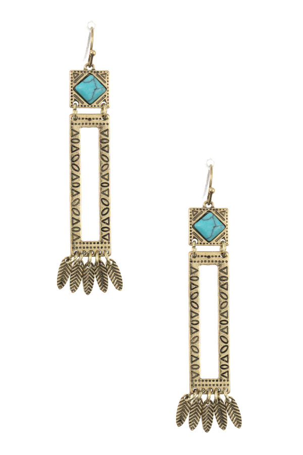 GEM ETCHED ACCENT DANGLING DROP EARRING