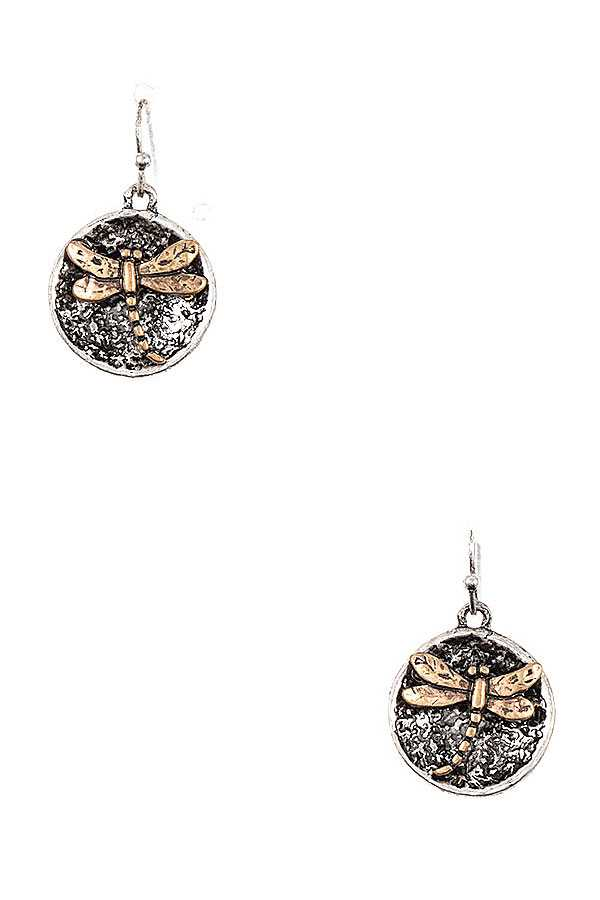 DRAGONFLY DISK ACCENT EARRING
