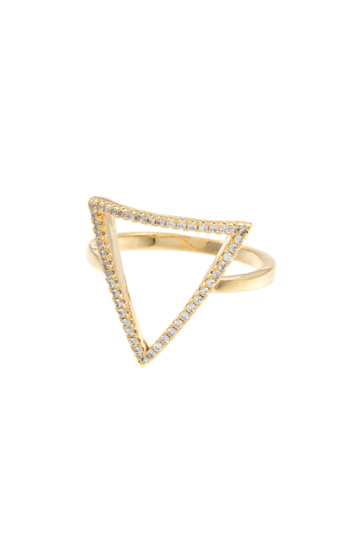 Outlined Rhinestone Triangle Ring
