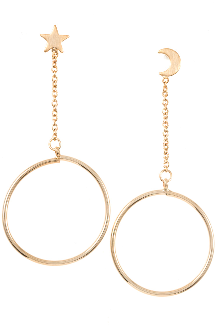 Moon And Star Drop Ring Dangle Earring
