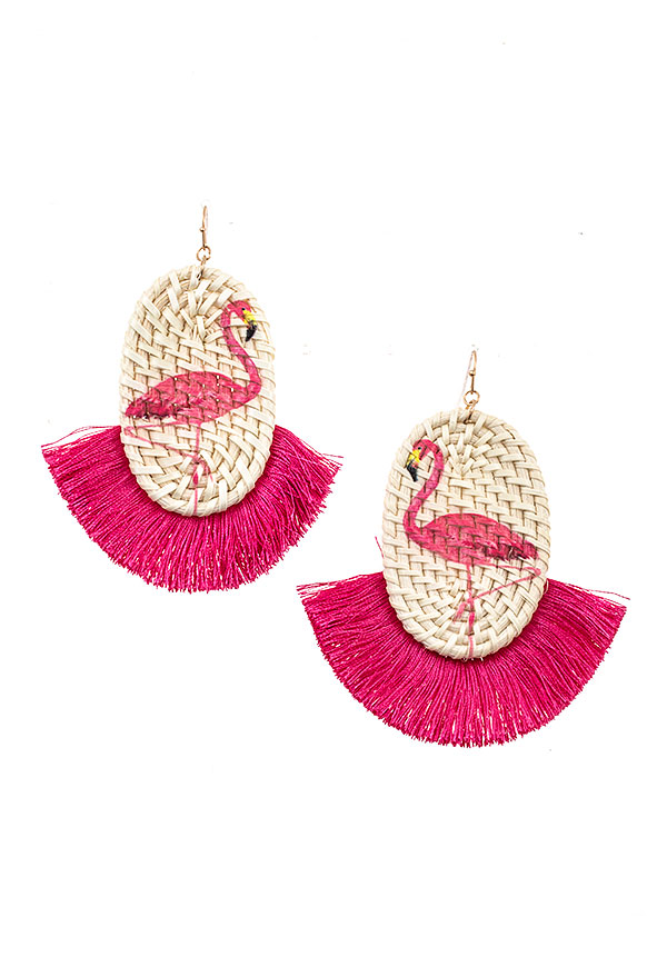 FLAMINGO ACCENT WOVEN STRAW FRINGE EARRING