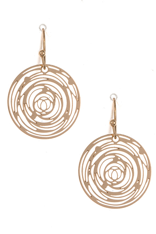 Round Detailed Accent Pattern Dangle Earring