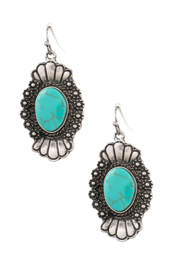 DOTTED ETCHED FAUX GEM DANGLE EARRING
