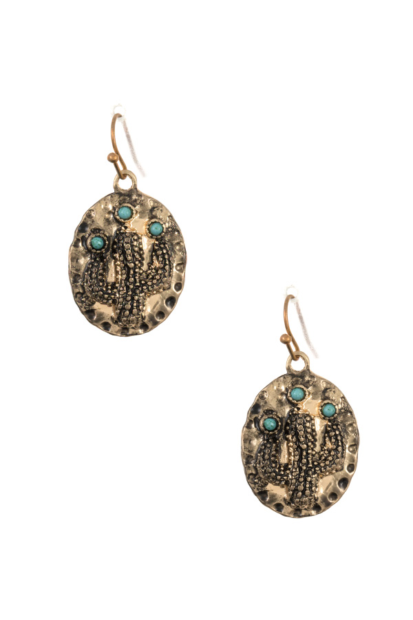 ETCHED CACTUS DANGLE EARRING