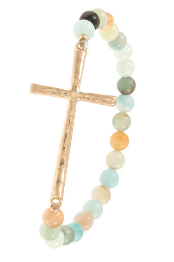 HAMMERED CROSS BEADED BRACELET