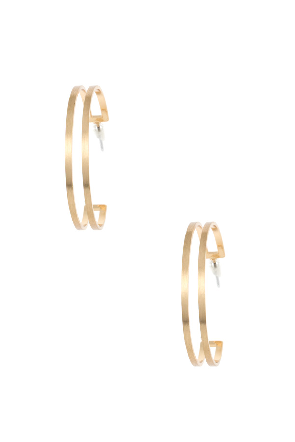 DOUBLE ROW SEMI HOOP EARRING