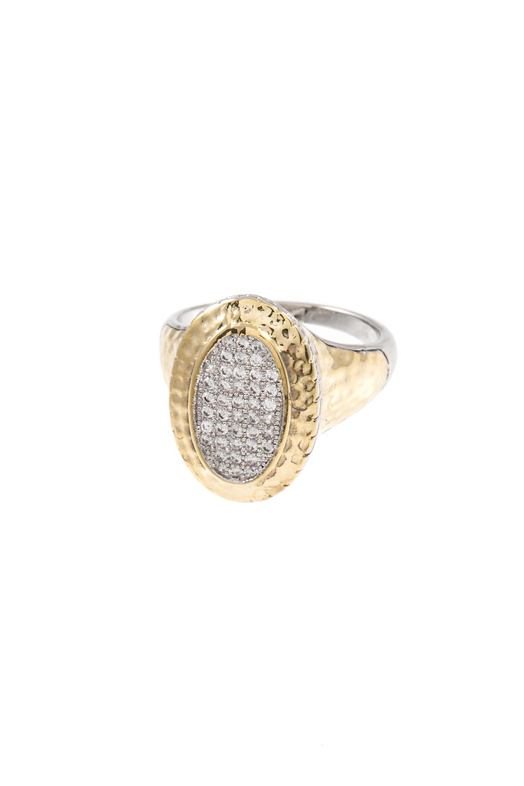 Oval Shape CZ Stone Pave Detailed Ring