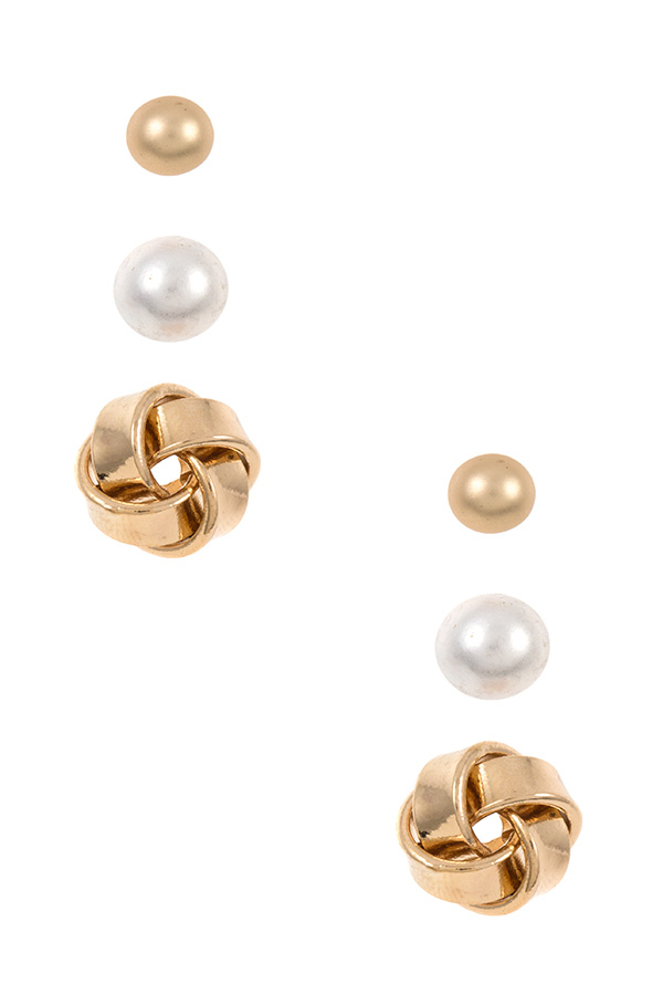 MIX PEARL KNOT POST EARRING SET