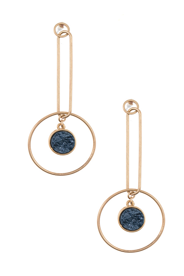 DOUBLE LINK DRUZY STONE ACCENT EARRING