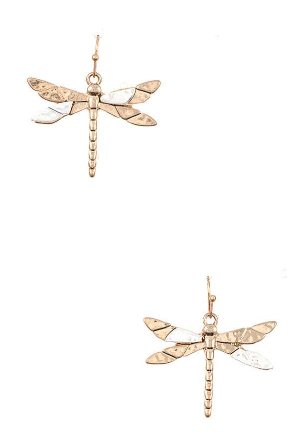 ETCHED DRAGONFLY DROP EARRING