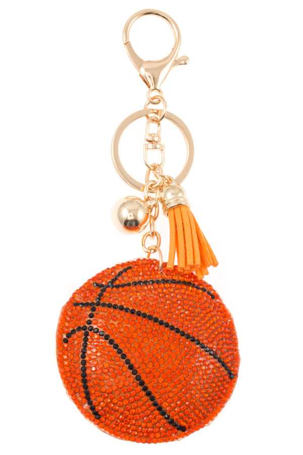 STUDDED BASKETBALL DROP KEY CHAIN