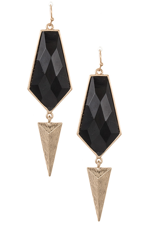 Faceted Stone Drop Triangle Prism Earring