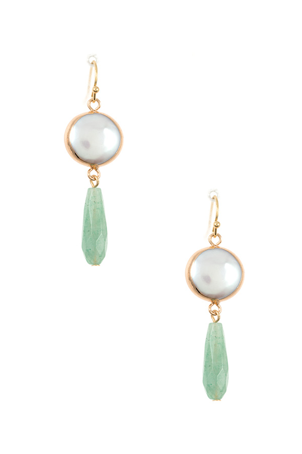 FRESHEATER PEARL DROP GEM DANGLE EARRING