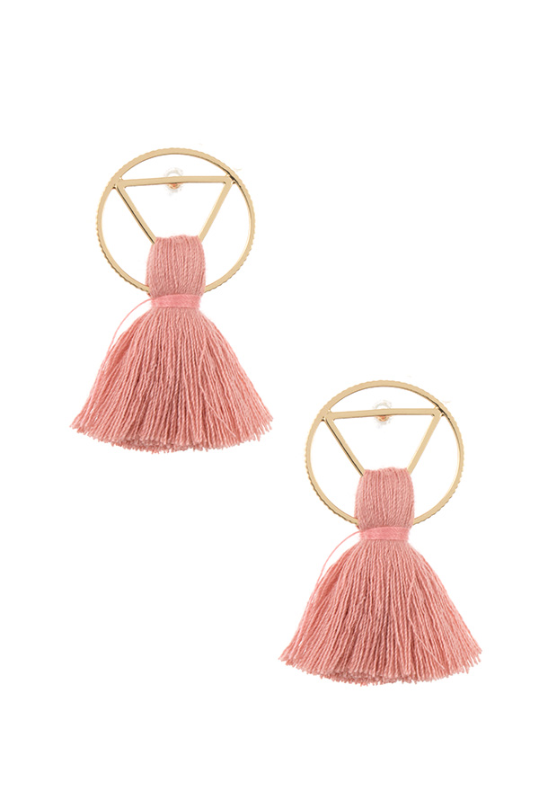 RING TRIANGLE LINK TASSEL EARRING