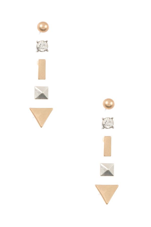 TRIANGLE MIX POST EARRING