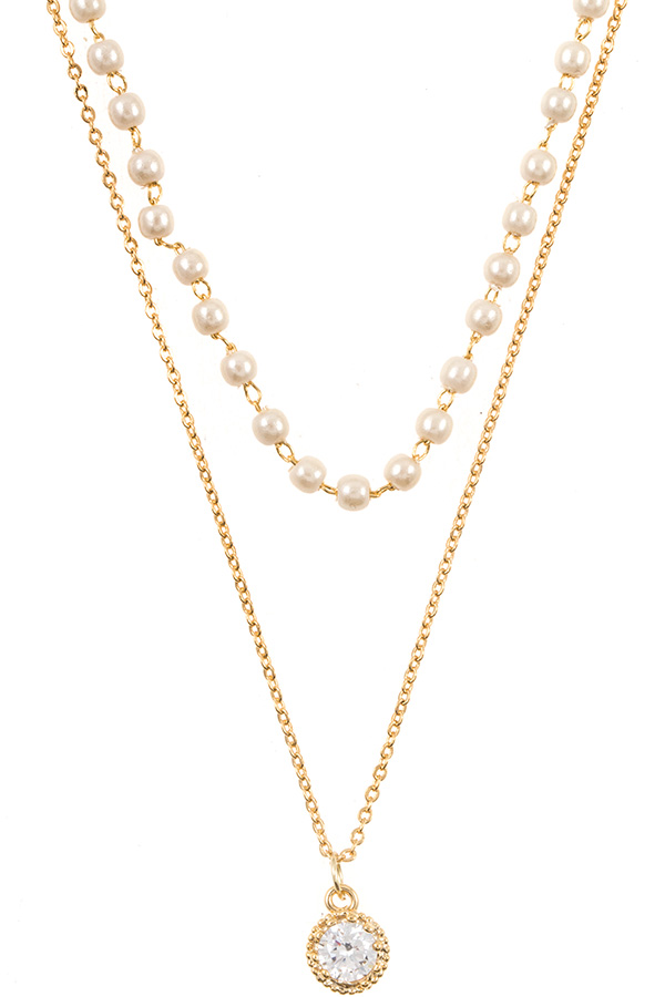Pearl and Chain CZ Stone Pendant Necklace