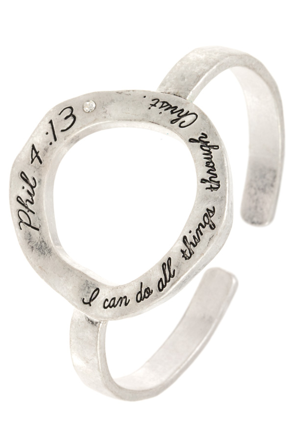 PHIL 4:13 MESSAGE ETCHED RING CUFF BRACELET