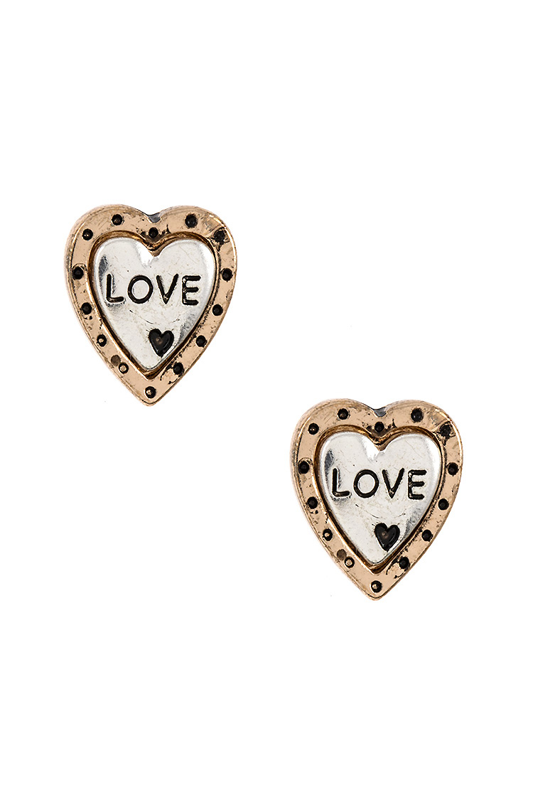 Heart LOVE Etched Post Earring
