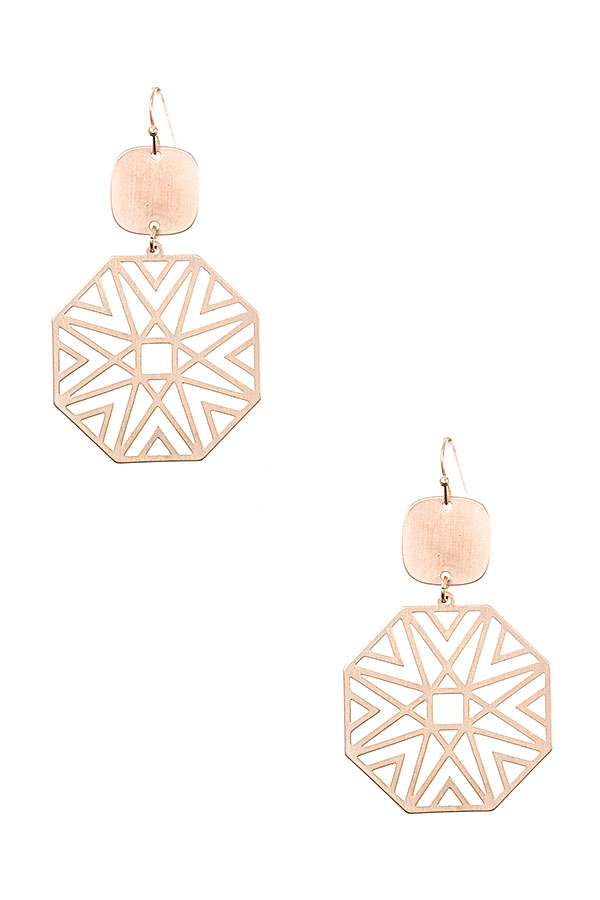 GEOMETRIC CUT DANGLE  EARRING