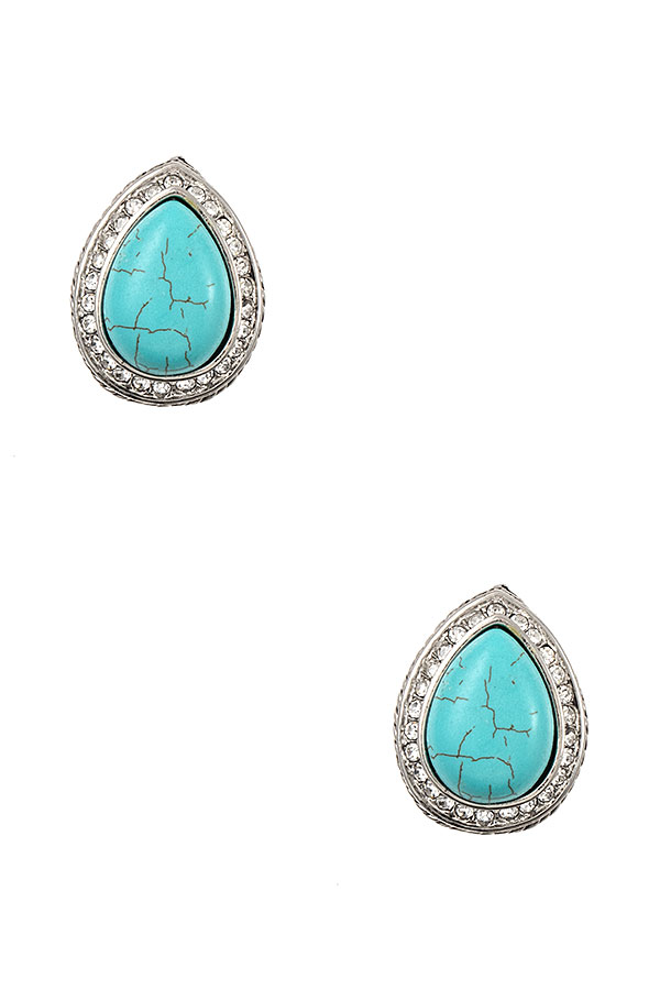 CRYSTAL FRAMED TEARDROP GEM POST EARRING